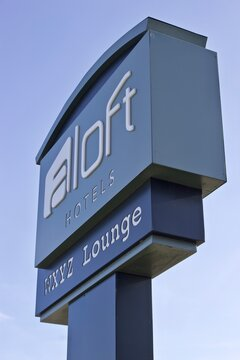9/01.2019 Miami,FL-Aloft Hotels Street sign wih WXYZ lounge