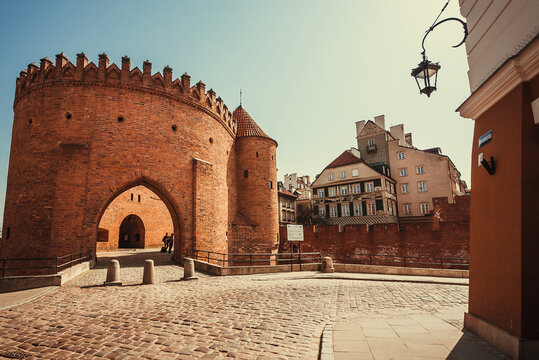 Old city castle with empty streets and cobblestones without people. Warsaw