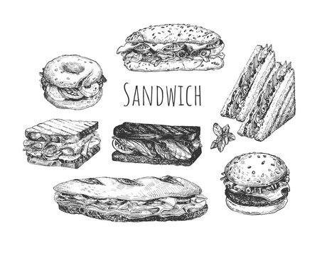 Hand drawn sketch sandwiches set