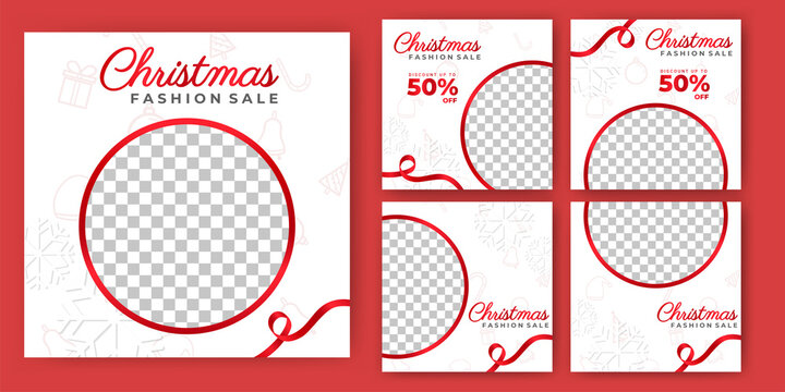 Set of editable square banner templates. Red and white color with white background christmas post template design with photo collage. Usable for social media post, story and web internet ads