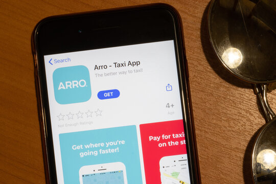 Los Angeles, California, USA - 12 February 2020: Arro Taxi App Store page close up , Illustrative Editorial