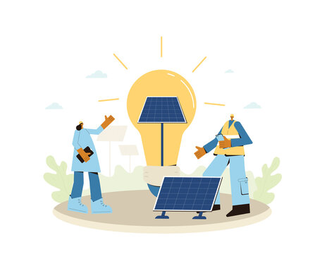 Solar energy system concept. Installing solar modules. Field service technicians, engineer  and architect. Scene with people and panels. Sustainable development. Vector flat scene.