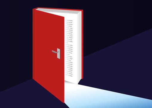Concept de la connaissance avec un livre qui s'ouvre comme une porte ouverte sur le savoir symbolisé par la lumière.