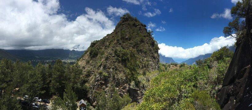 Fleur jaune mountain in Cilaos, Reunion island, climbing place
