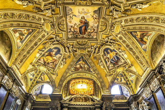 Interior of Saint Mary Major Basilica (Basilica di Santa Maria Maggiore, 1743) - Papal major basilica and largest church in Rome dedicated to Blessed Virgin Mary. ROME, ITALY. December 28, 2016.