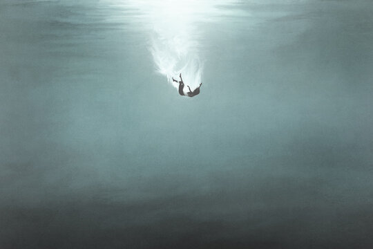 illustration of woman falling underwater, surreal concept