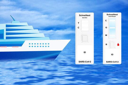 Corona Covid-19 Schnelltest mit Kreuzfahrtschiff und Himmel Hintergrund