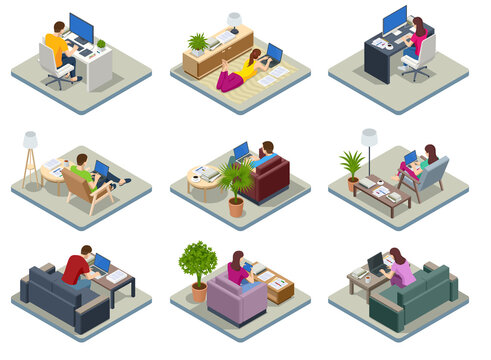 Isometric business man and woman working at home with laptop and papers on desk. Freelance or studying concept. Online meeting work form home. Home office.