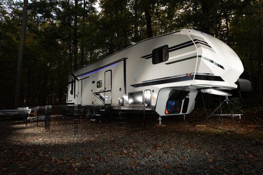Fifth wheel toy hauler at Falls Lake North Carolina