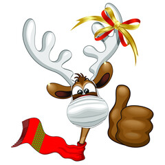 Reindeer Christmas Character with Face Mask, smiling under the Mask - Vector illustration isolated on White.