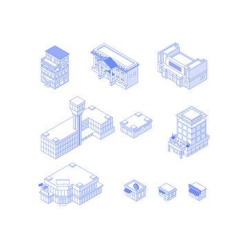 Set of isometric objects. Monochrome line art city buildings collection. Hotel city hall theatre airport office building mall shops cafes