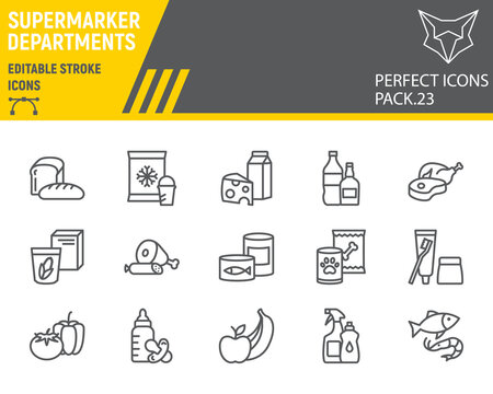 Supermarket departments line icon set, grocery collection, vector sketches, logo illustrations, online sales icons, supermarket department signs linear pictograms, editable stroke.