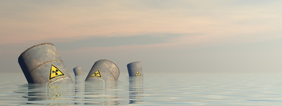 Toxic barrels floating in the water by sunset - 3D render