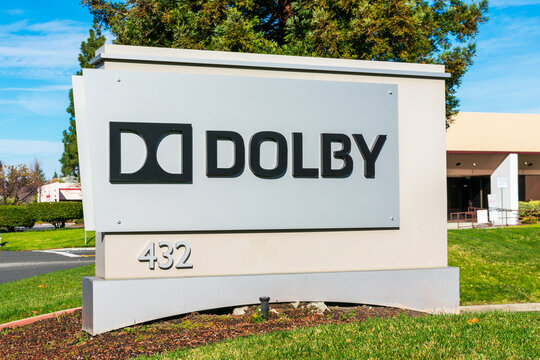 Dolby Laboratories sign and logo at Silicon Valley campus. Dolby Laboratories company specializing in audio noise reduction and audio encoding, compression - Sunnyvale, CA, USA - 2020