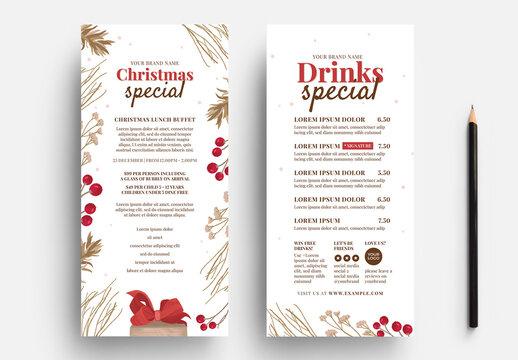 thin Christmas Menu Layout with Festive Decoration