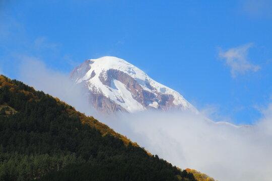 Mount Kazbek in the Caucasus, Georgia