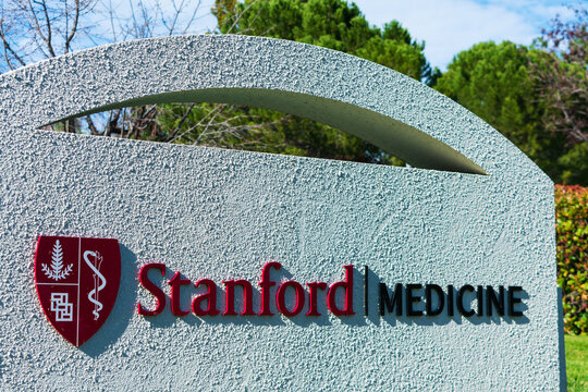 Stanford Medicine sign at a premier medical school and world-class hospitals - Palo Alto, California, USA - 2020