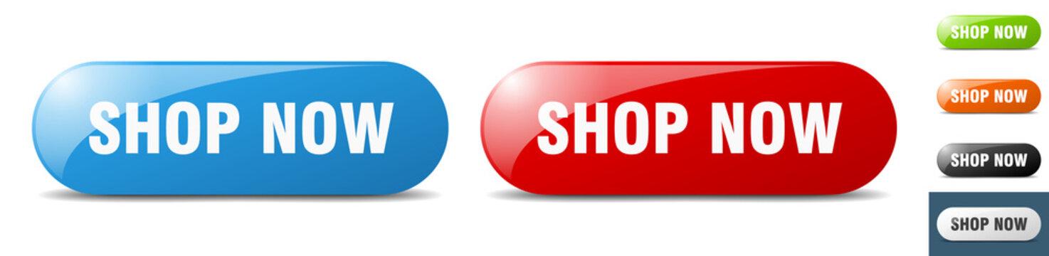 shop now button. key. sign. push button set