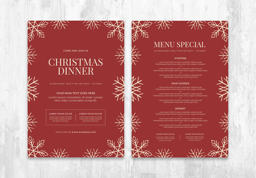 Christmas Menu Layout with Rustic Snowflake Illustrations
