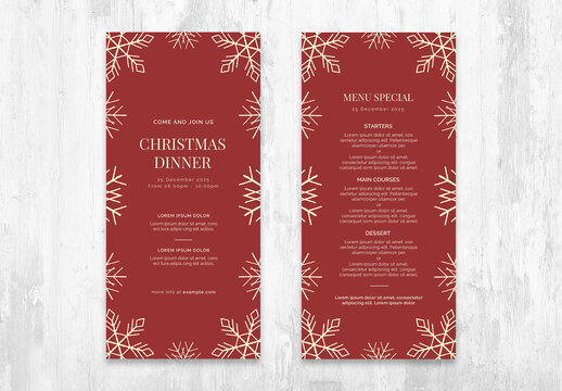 Christmas Menu Flyer Layout with Rustic Snow Illustrations