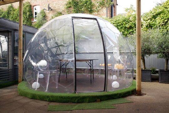 Plastic igloo dome tent used to dine outside pub during the Coronavirus (Covid-19) pandemic
