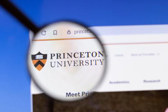 Los Angeles, California, USA - 3 March 2020: Princeton University website homepage logo visible on display screen, Illustrative Editorial