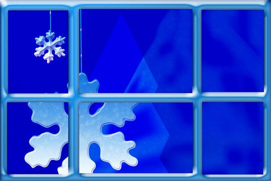 Christmas snowflake outside the window. Christmas background.