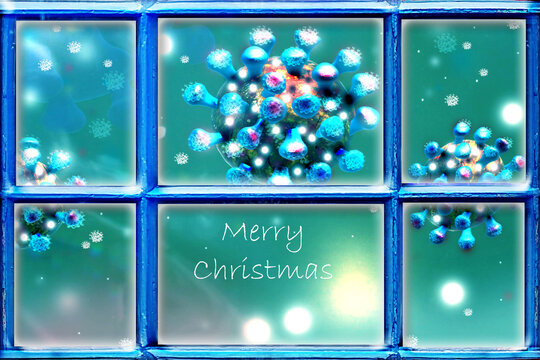 Christmas background with window frame and coronavirus. Covid-19 concept.