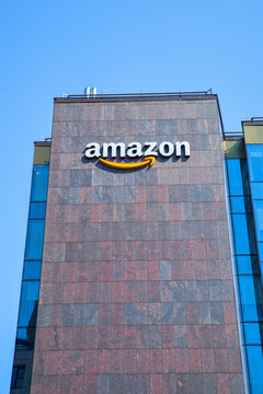 Amazon company logo on office building