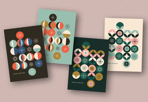 Holiday Card Layout Set with Geometric Elements