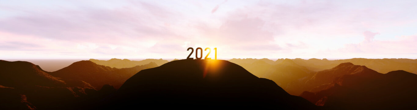 silhouette of number 2021 on the mountain, new year celebration concept