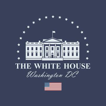 white house building icon in Washington DC isolated on blue background