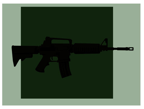 Infantry weapons. Modern assault rifle. Vector image for illustrations.