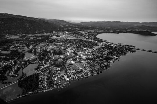 Sandpoint Idaho Aerial.  Image shot from a Cessna 182 in September 2020.