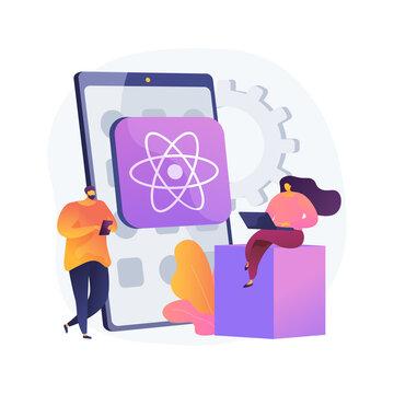 React native mobile app abstract concept vector illustration. Cross-platform native mobile app development framework, JavaScript library, user interface, operating system abstract metaphor.