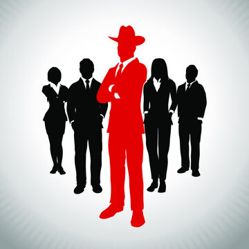 American Tycoon leader in front of a team of executives. A successful team of executives led by a great american tycoon leader.