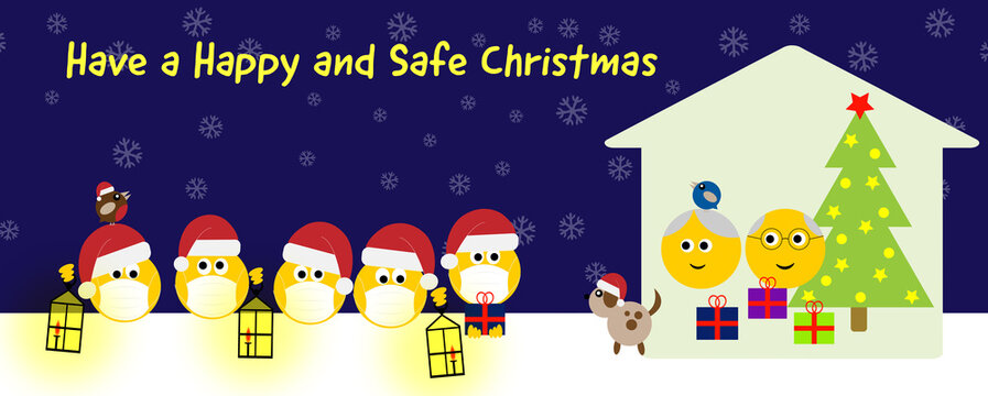 Group of happy emojis in Christmas hats and face masks with dog and birds social distance visiting seniors at home, Have a happy and safe christmas text