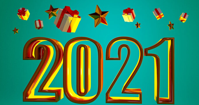 3D rendering text number 2021 for your christmas