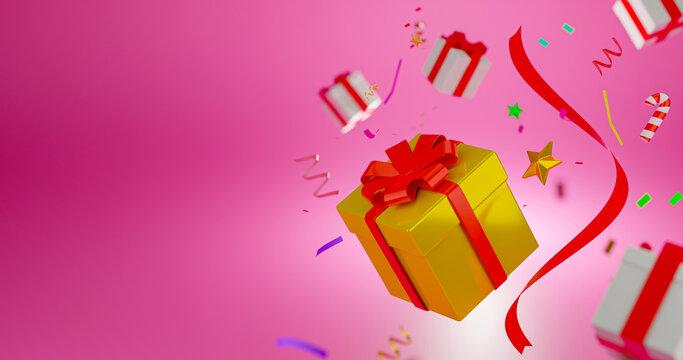 Golden color gift box for celebration on christmas day