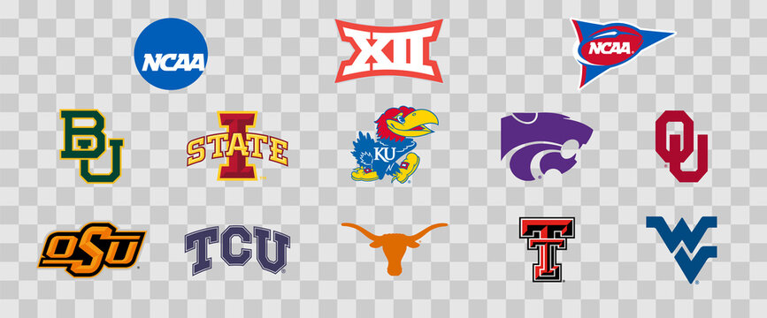 Logos of the Big 12 colleges of the NCAA. Scalable Vector image.