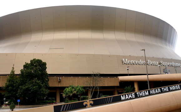 New Orleans, Louisiana, U.S.A - February 4, 2020 - The close view of Superdome on Sugar Bowl Drive