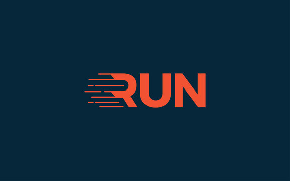 Word mark logo icon formed run fast symbol in letter r with orange color