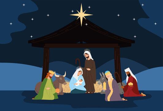 nativity, manger scene holy family wise kings ox donkey in the night