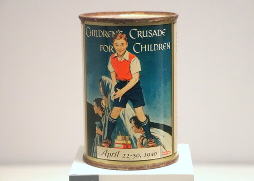 New Orleans, Louisiana, U.S.A - February 5, 2020 - The 'Children's Crusade For Children' penny collection can to benefit European War orphans forced to flee the Nazis