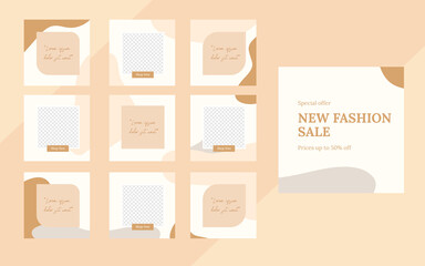 Wall Mural - organic social media template banner fashion sale promotion. fully editable instagram and facebook square post frame puzzle organic sale poster. Brown graphic