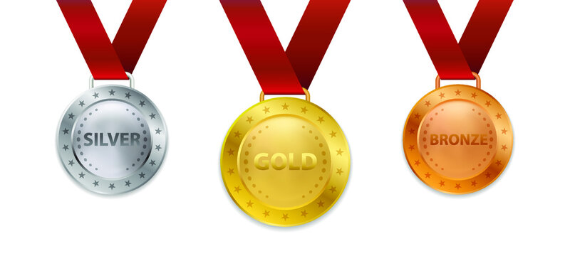 Realistic 3d Champion Gold medal with ribbon vector illustration
