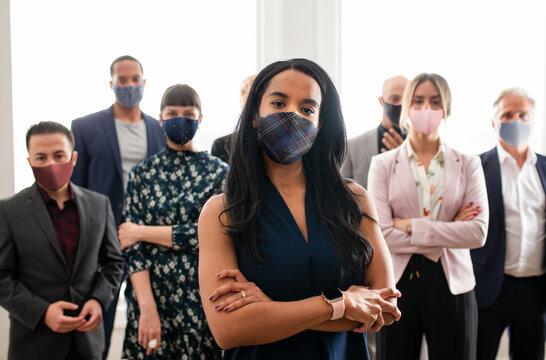 Boss lady wearing mask, new normal covid 19