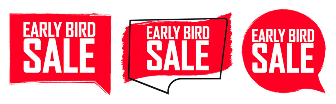 Set Early Bird Sale banners, discount tags design template, grunge brush,  vector illustration