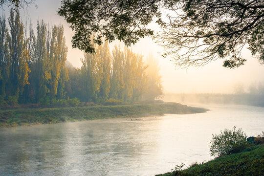 misty morning sunrise on the river. beautiful autumnal scenery with glowing sky. bridge in the distance. pravoslavna embankment of uzhgorod, ukraine