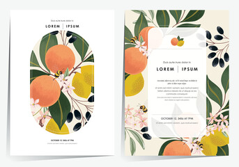 Wall Mural - Vector illustration of a beautiful floral frame set with fruits. Design for cards, party invitation, Print, Frame Clip Art and Business Advertisement and Promotion